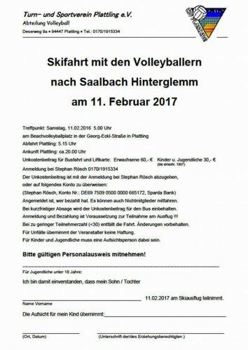 Volleyball Skifahrt 2017